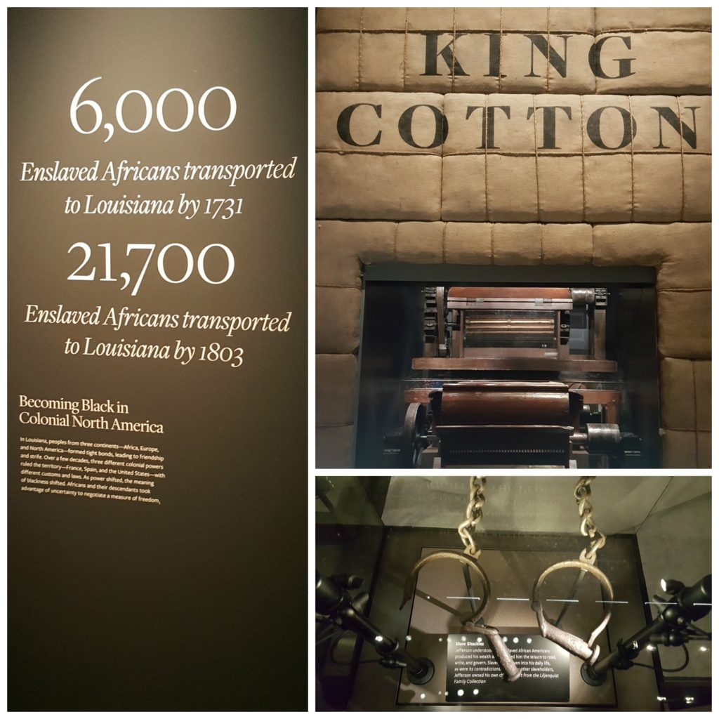 (Clockwise from top right) Collage of cotton gin, slave shackles and facts about slavery.